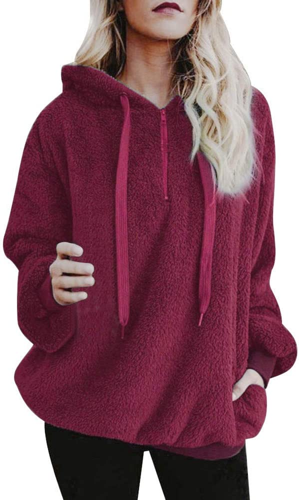 Eoailr Women 1 4 Zipper Pullover Warm Pockets Popular Spasm price products Fuzzy Hoodie with