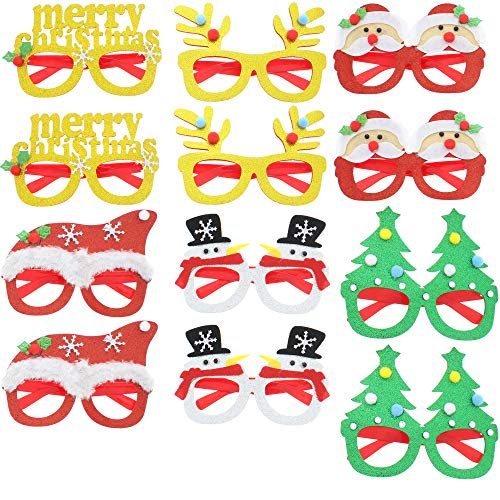 12 Pieces Merry Christmas Party Glitter Glasses Frames Christmas Decoration Novelty Costume Fancy Dress Glasses Eyeglasses without Lenses for Kids & Adults