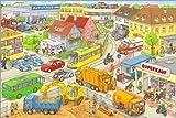 Poster 100 x 70 cm: Auto-Wimmelbild Stadt von Stefan Seidel