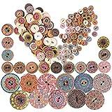 JNCH 200pcs Botones de Madera Redondos Decorativos Botones Redondos de Madera 15mm + 25mm2 Agujeros Estilo Vintage Colores Mezclados para Manualidades Costura DIY Scrapbooking Artesanía