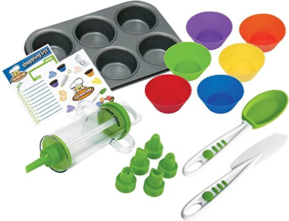 Curious Chef Children's 16-Piece Cupcake and Decorating Kit