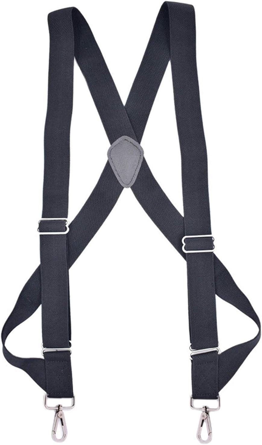 JTCMOJS Mens Trucker Side Clip Suspenders Heavy Duty X Back 1.4