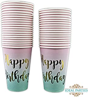 50 Count 12 oz Happy Birthday Cups Gold Foil on Pink to Teal Ombre for 1st Birthday Baby Shower Decorations Girls Women Unicorn Birthday Party Supplies by Ideal Parties!