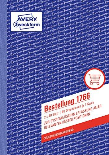 AVERY Zweckform 1766 Bestellung (A5, 2x40 Blatt, selbstdurchschreibend mit farbigem Durchschlag, zur systematischen Erfassung aller relevanten Bestellpositionen) weiß/gelb
