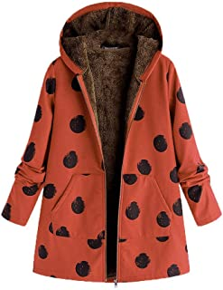 SHANLEE Womens Winter Coats Plus Size Warm Outwear Dot Hooded Pockets Oversize Coats