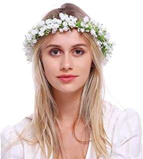 Wedding Flower Crown Boho Bridal Flower Headband Wreath Babies Breath Hair Headpiece