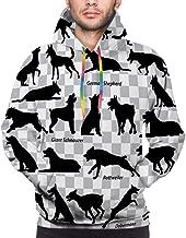 Men Hoodie Print Sweatshirt Set Black Silhouettes Dogs Transparent Backgrounds German Shepherd Giant Schnauzer Dobermann