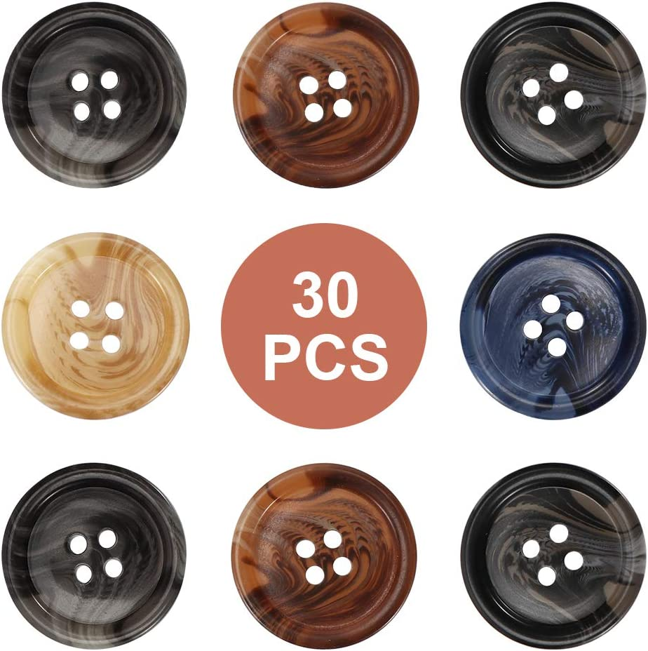 Manual Button Painting Handmade Repair Cloth for Sewing DIY Crafts QXUJI 30 PCS Resin Sewing Buttons with 4 Matte Pattern Size 4 Holes 25mm//1 inch Round Bulk Buttons for Sewing
