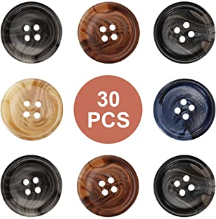 QXUJI 30 PCS Resin Sewing Buttons, 25mm/1 inch Round Bulk Buttons for Sewing, with 5 Matte Pattern Size 4 Holes, for Sewin...