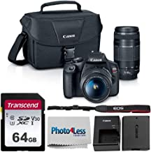 $549 Get Canon EOS Rebel T7 Digital SLR Camera Body + EF-S 18-55mm f/3.5-5.6 IS II + EF 75-300mm f/4-5.6 III Lens + EOS Shoulder Bag + Transcend 64GB SD Memory Card + P4L Cleaning Cloth – Ultimate Canon Bundle
