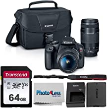 Canon EOS Rebel T7 Digital SLR Camera Body + EF-S 18-55mm f/3.5-5.6 IS II + EF 75-300mm f/4-5.6 III Lens + EOS Shoulder Bag + Transcend 64GB SD Memory Card + P4L Cleaning Cloth – Ultimate Canon Bundle
