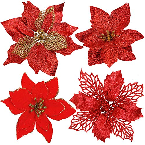 24 Pcs 4 Styles Christmas Red Glitter Metallic Mesh Artificial Poinsettia Flower Stems Tree Ornaments in Box for Red Christmas Tree Wreaths Garland Floral Gift Winter Wedding Holiday Decoration