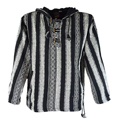 Goa Kapuzenshirt, Baja Hoody / Hoodies und Goa Jacken, alternative Bekleidung von Guru-Shop, Schwarz, Gr. XXL