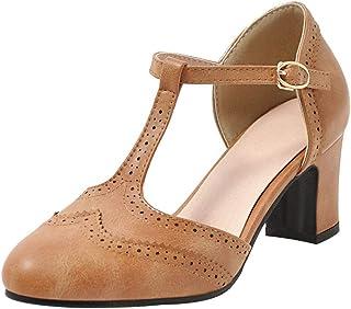 6de9fd5e Coolulu Mujer Bullock Sandalias con T-Correa de Hebilla Zapatos Tacón Ancho  Zapatos de Tira