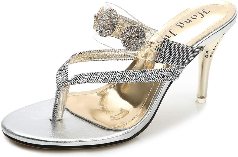 MEIZOKEN Ladies High Heels Flip Flops Luxury Diamond Summer Slippers shoes gold Silver shoes