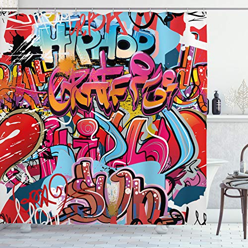 "Ambesonne Graphic Shower Curtain, Hip Hop Street Culture Harlem New York City Wall Graffiti Art Spray Artwork Image, Cloth Fabric Bathroom Decor Set with Hooks, 75"" Long, Pink Red"