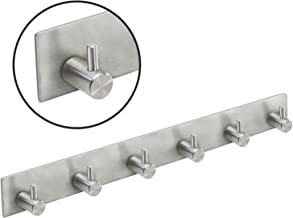 TRIXES Bathroom Towel Hooks - Stick-on Rail with 6 Stainless Steel Chrome Hooks - Self-Adhesive Hooks - for Tea Towels Bath Towels – Perfect for Kitchen Hallway