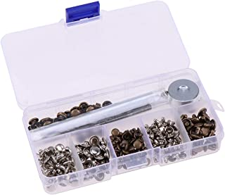 Healifty 120pcs Copper Leather Rivets Set with Installation Tool for DIY Crafts Bag Shoes Belt Clothing(Silver and Bronze)