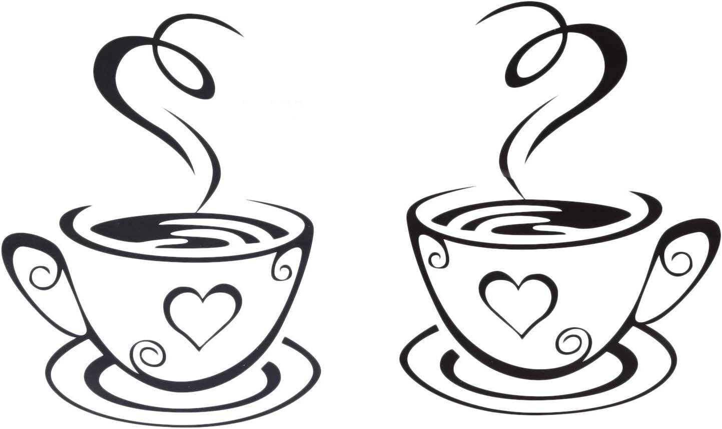 TaoToa Black Tazas de Café Arte de La Pared Pegatinas PVC Etiqueta Engomada del Café Decoración de Calcomanías para Cocina Café Restaurante DIY