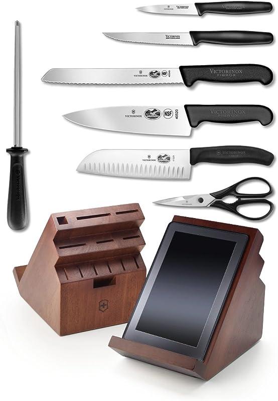 Victorinox Fibrox Professional 13 Piece Cutlery Set With Swivel Knife Block Tablet Recipe Holder