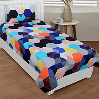 PRIDHI Super Soft Glace Cotton Single Bedsheet with 1 Pillow Cover (Fast color1) New design1