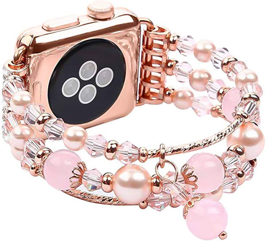 Bracelet Compatible with Apple Watch Band,38mm 40mm fashion charm jewelry beaded elastic band inlaid rhinestone Fancy bracelet for iWatch Series SE/6/5/4/3/2/1 Women Girl Gift ( Rose Gold, ML)
