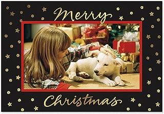 Gold Foil Stars on Black Photo Sleeve Christmas Cards