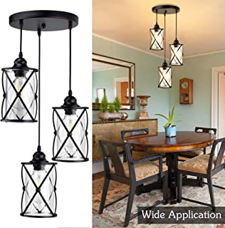 DLLT 3-Light Industrial Pendant Light, Black Metal Cage Hanging Chandelier Lights with Glass Shade, Vintage Style Flush Mount Swag Lighting Fixture for Kitchen/Dining Room/Hallway/Bedroom, E26 Base