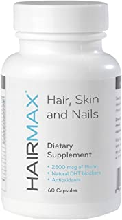 HairMax for Hair, Skin and Nails Dietary Supplement – Hair Loss and Hair Regrowth Treatment for Women and Men. Contains 2500mcg Biotin, DHT Blocker, MSM & Antioxidants. 1 Month Supply