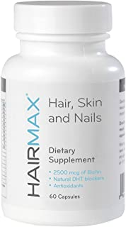 HairMax for Hair, Skin and Nails Dietary Supplement (1 Month Supply). Contains Biotin, DHT Blockers, MSM and Antioxidants.