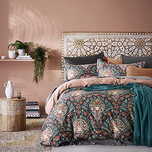Venetian Damask Bohemian Paisley Duvet Cover Set Boho Chic Watercolor Medallion 400TC Egyptian Cotton Sateen Luxury Style Bed Linen (Rust Navy, Super King)
