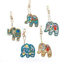 DIY Special Shaped Full Drill Diamond Painting Keychain Kits, Mosaic Drawing Decorative Props for Bags,Phone Strap Auspicious Elephant 5 Pack by SimingD