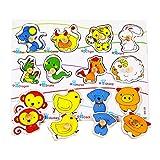Bureze Juguete de educación infantil de los niños de madera rompecabezas perilla chino zodíaco animal conjunto cognitivo