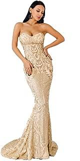Women Bustier Strapless Off Shoulder Glitter Bodycon Mermaid Cocktail Dress