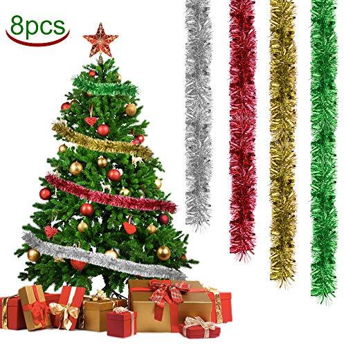 LYTIVAGEN 8 Stück Girlande Weihnachten Lametta Metallisch Weihnachtsbaum Lametta Girlande Weihnachten Kranz Glänzend Hängende Dekoration für Weihnachtsbaum Kranz Hochzeit Party
