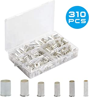 BAPHILE 310PCS Wire Silver Plated Copper Crimp Connector Non Insulated Ferrules Pin Cord End Terminal(AWG 2/0,1,2,4,6,8)
