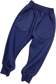 Pandapang Big Boys Jeans Faux Faded Denim Simple Elastic Waist Pants
