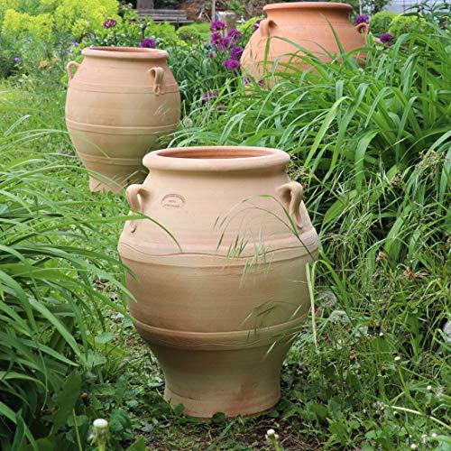Kreta-Keramik | hochwertige Terracotta Amphore | 50 cm | absolut frostfest und handgefertigt, tolles Pflanzgefäß für den Garten, Balkon oder Terrasse, Cassia 50