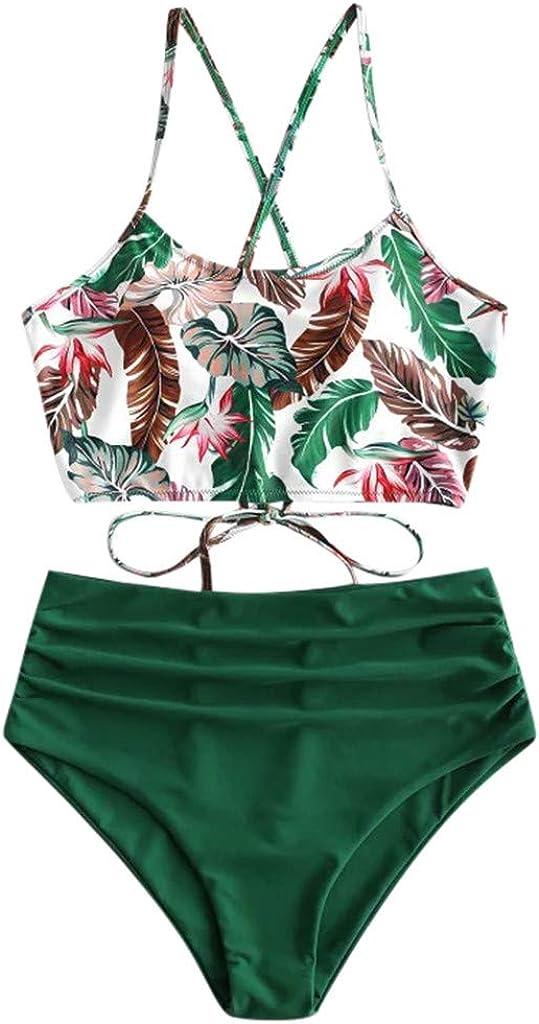 Gerichy Swimsuit for Women, Women Swimsuits 2 Piece Sexy High Waist Floral Print Swimwear Bikini Bathing Suits Swimdress