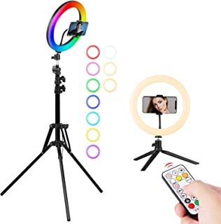 RGB リングライト 高安定性 三脚スタンド 卓上スタンド 照明撮影用ライトセット10インチ 7色モード 10輝度調光 スマホライト 3200K-6500K 補助光 照明用キット 顔