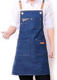DHRH DHRH Küchen-Kochschürze  Schürze für Männer und Frauen, Dicke Hochleistungsschürze mit Taschen, verstellbaren Kreuzgurten, ideal zum Grillen, beständig gegen Lackierung, Restaurantbar, Marineblau