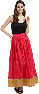 Fusion Beats Women Pink Solid Poly Cotton Skirt
