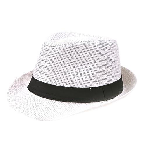 Demarkt Sombrero de Sol de Paja de Playa Hombres Topper(Azul) cd35f09d013