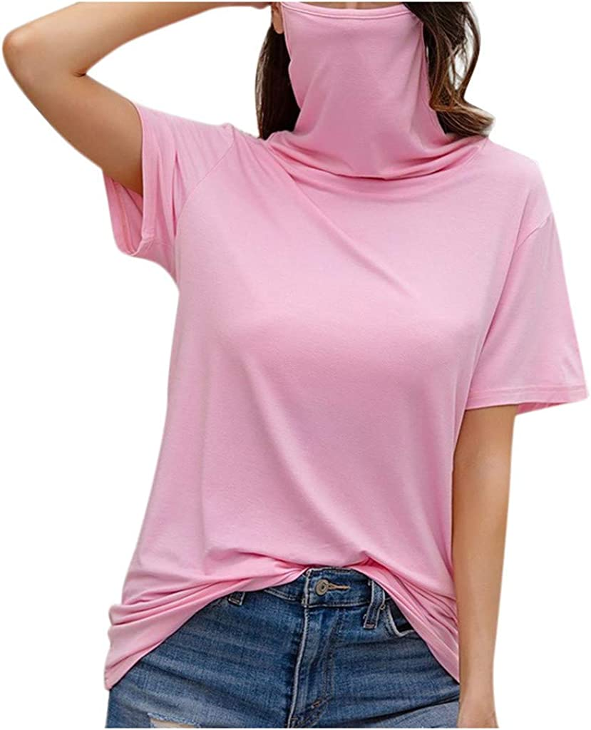 WUAI-Women Mask Short Sleeve T Shirts Plus Size Casual Loose Round Neck Face Mask Top Blouse Tee Shirt