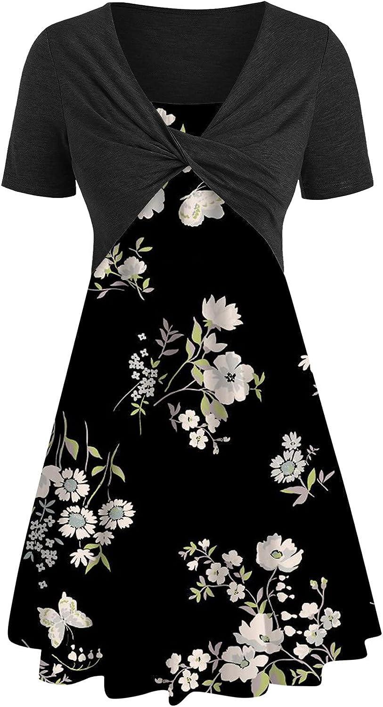 Oiumov Summer Dresses for Women,Womens Dresses Bow Knot Bandage Floral Print Mini Dress Suit Dress Short Sleeve Sundress