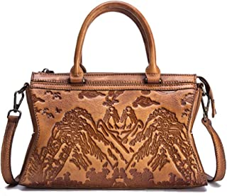 Fashion Chinese Style Hand-Brushed Female Bag/First Layer Cowhide Landscape Painting Embossed Head/Shoulder Diagonal Ladies Handbag (Color : Beige)