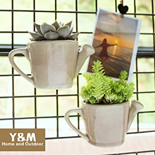 Y&M Ceramic Succulent Cactus Flower Pot/Plant Pots/Planter/Container for Home Garden Office Desktop Decoration (Plants Not Included) (Watering can Shape)