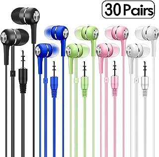 Bulk Earbuds Headphones 10 Pack Multi Colored for School Classroom Students Kids Child Teen Multi FM-i10