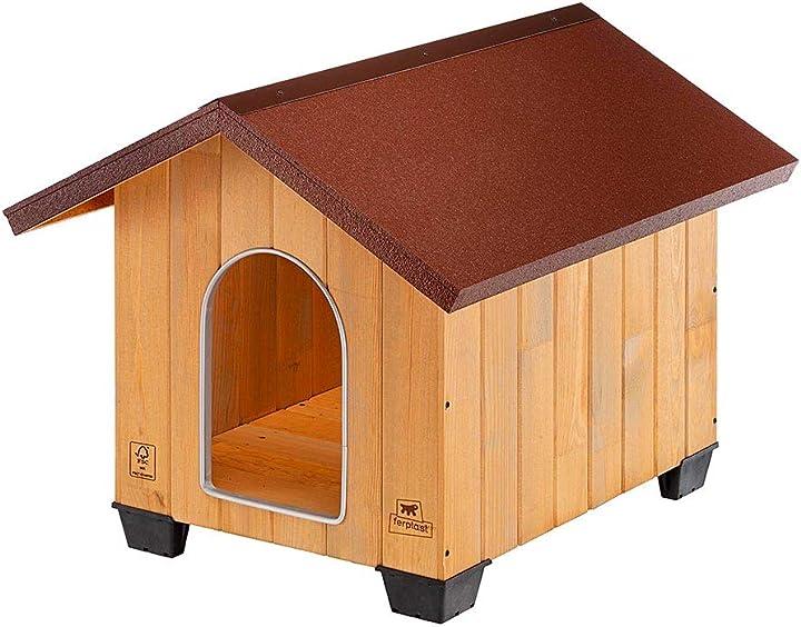 Cuccia cani da esterno domus medium in legno fsc, piedini isolanti, griglia d`aerazione ferplast 87002000
