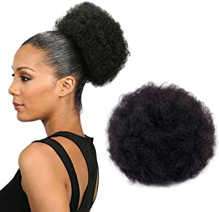 Big Curly Afro Drawstring Ponytail Hairpieces Puff Afro Hair Bun Extension Updo Wig Chignon with 2 Pieces Clips Size 8Inches
